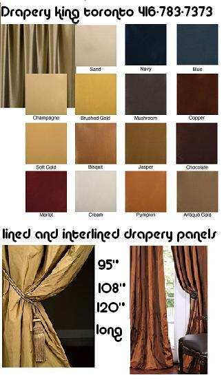 ready made drapery panels toronto, 416 73 7373, Estate lined and interlined drapery panels