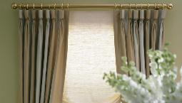 Goblet Pleated Drapery Toronto, Dining Room Drapery, Brass Curtain rod