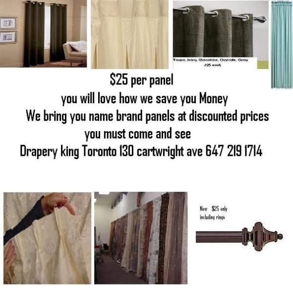 Drapery King Toronto saves you money, on ready made drapery 647-219-1714