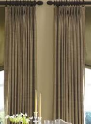 Custom Drapery, Pinch pleated, Wood Curtain Rods Toronto, Dining room Drapery